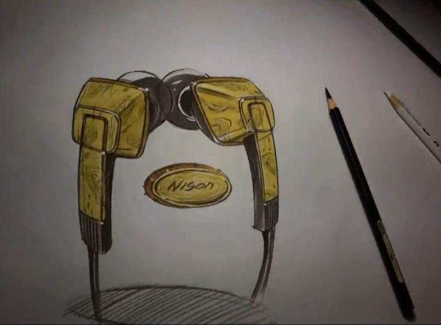 手绘工业品木纹耳机